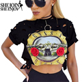 ShejoinSheenjoy 2016 Autumn T-Shirt Women O-Neck Short Sleeve Sexy Hole Crop Top Guns N Roses Band Printed T Shirt Women 5 Color