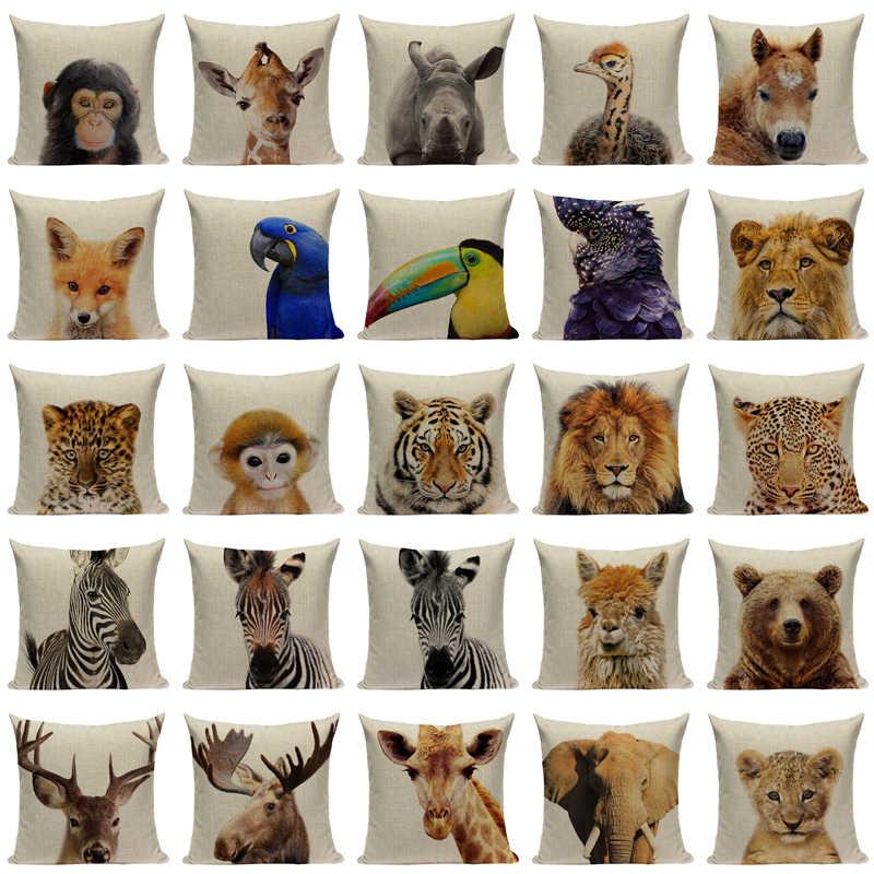 عالية الجودة الحيوان سلسلة غطاء وسادة المنزل ديكور الوسائد مخصص رمي الوسائد النمر الفيل قرد غطاء وسادة للسيارة