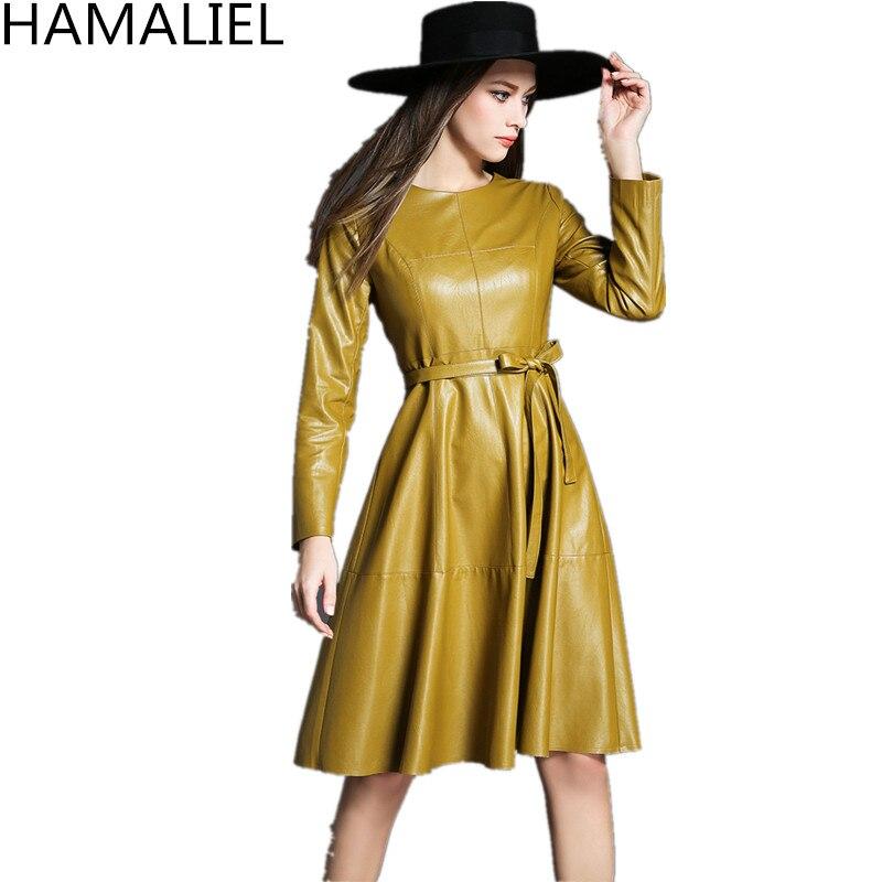 HAMALIEL nouveau printemps femmes fête robe 2018 mode Yelllow PU à manches longues en cuir robe décontracté Slim O cou OL robe avec ceinture