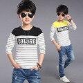 Meninos T-shirt 2016 Outono Nova Primavera Adolescente Roupas de Algodão Puro crianças T-shirts Menino Para Garcon Camiseta Tops de Manga Longa T12