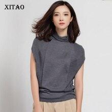 [Xitao] осень 2017 г. новые элегантные женские свободные 50% шерсть однотонная водолазка тонкий пуловер без рукавов Повседневная Стиль свитер HHB-002