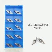 10tlg VCGT110304-AK H01 VCGT221-AK H01 Wendeplatten für Drehmeißel Drehen TD