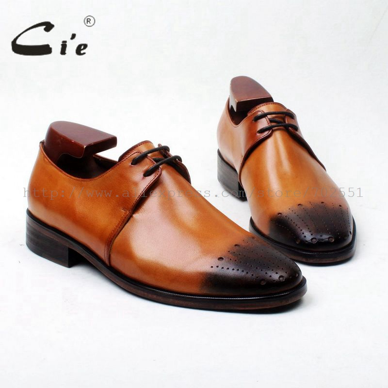 cie Free Shipping Bespoke Handmade Custom Hand-painted Brown Calf Leather Bottom Outsole Breatheable Men Derby Round shoe D192 cie free shipping handmade tassels buckle loafer brown white matching calf leather bottom outsole men shoe 3 crafts loafer66
