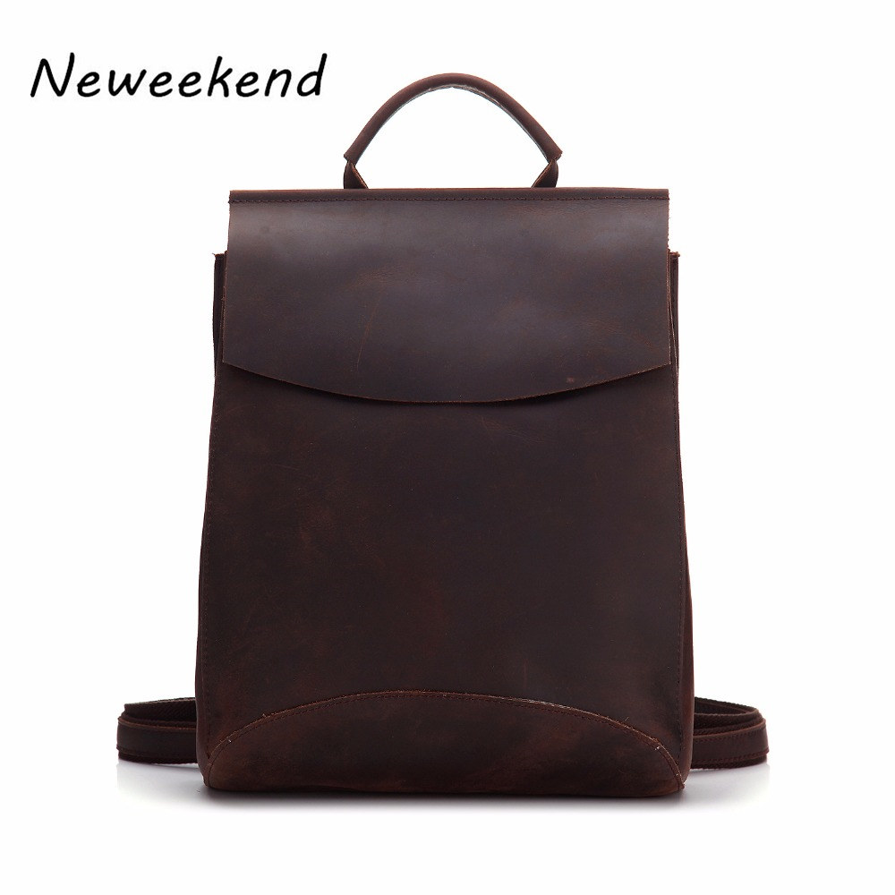 Men Backpack Genuine Leather Women Male School Bag Fashion Shoulder Bag Big Capacity Crazy Horse Female