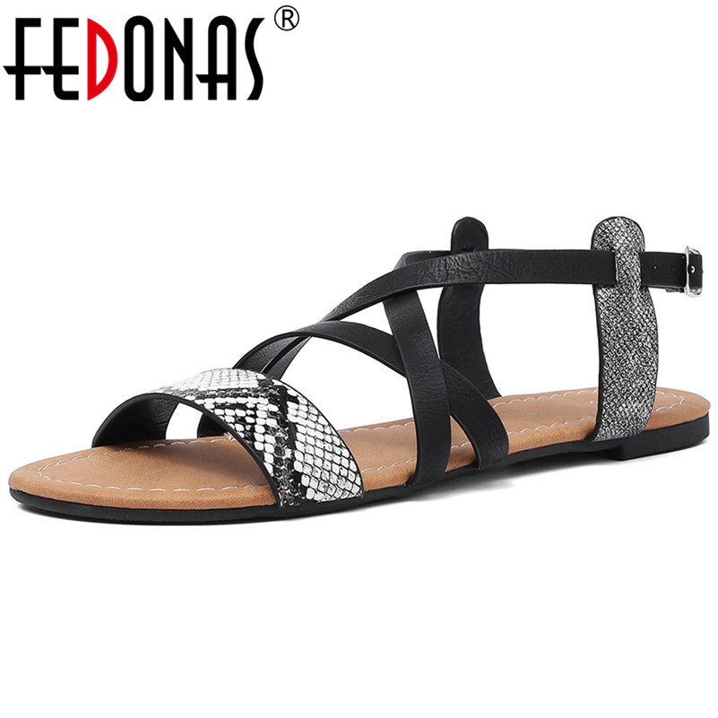 FEDONAS 2019 Summer New Concise Sexy Punk Round Toe Buckle Women Flats Microfiber Leather Comfortable Women Sandals Office Shoes