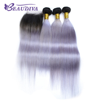 BEAUDIVA Pre Colored Ombre Color T1B Purple Straight Hair 3 Bundles With Closure 4 4 Brazilian