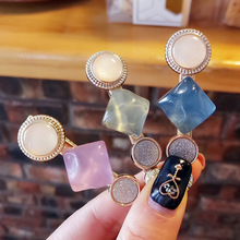 Vintage Morandi Style Hair Clips for Women Sweet Girl Simple Korean Matte Round Hairpins Handmade Ins Accessories G34