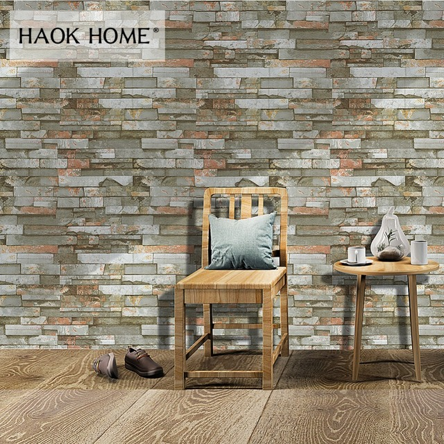 HaokHome Faux Stone Wallpaper Roll For Wall 3D Self Adhesive Peel Stick contact paper Wall Murals Living Room Kitchen Home Decor