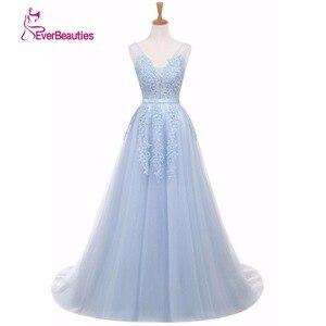 Image 2 - Vestidos de festa Evening Dress Robe De Soiree V Neck with Lace Appliques Long Tulle Party Evening Dresses 2020 Pink Navy Blue