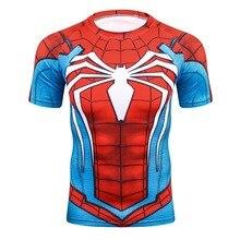 Summer 3D Print Compression T Shirt Men Marvel Comic Superhero Spiderman Superman Batman Short Sleeve T