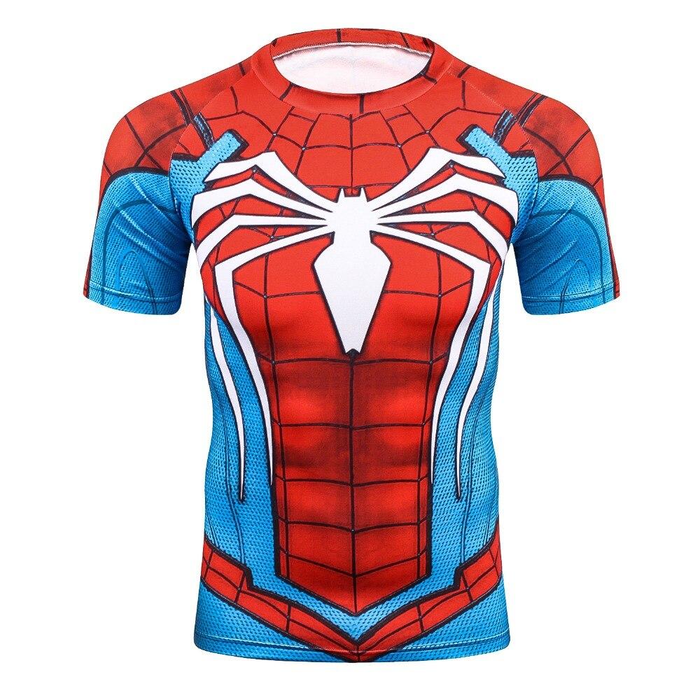 Summer 3D Print Compression T-Shirt Men Marvel Comic SuperHeroe Spiderman Superman Batma ...