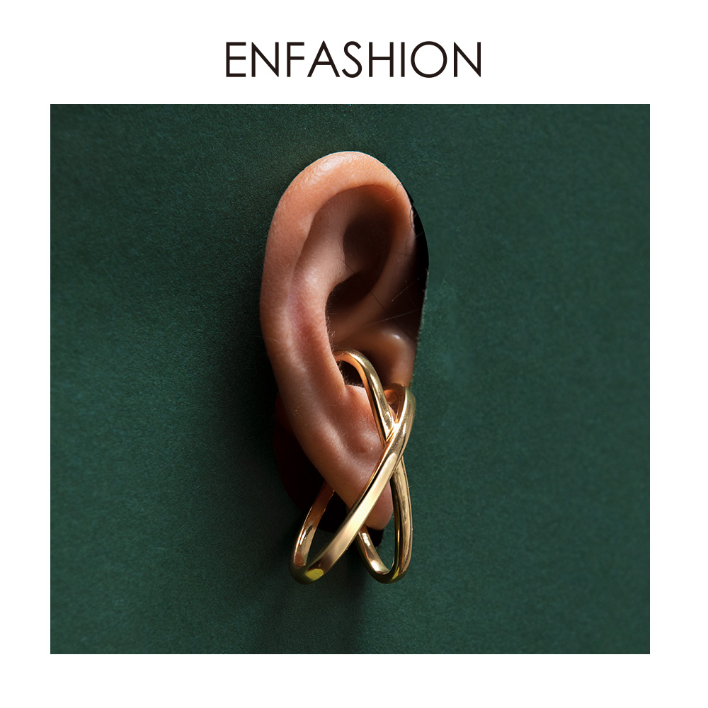 ENFASHION X Shape Simple Ear Cuff Clip On Earrings For Women Gold Color Punk Geometric Earings Without Piercing Jewelry EC191068