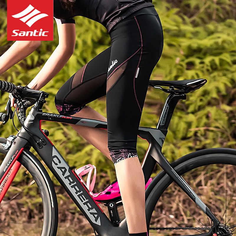 2018 Santic רכיבה על אופניים מכנסיים קצרים נשים MTB Downhill אופניים חלול החוצה כביש ספורט קצר רכיבה על אופניים 3/4 מכנסיים קצרים רשת 3D paded