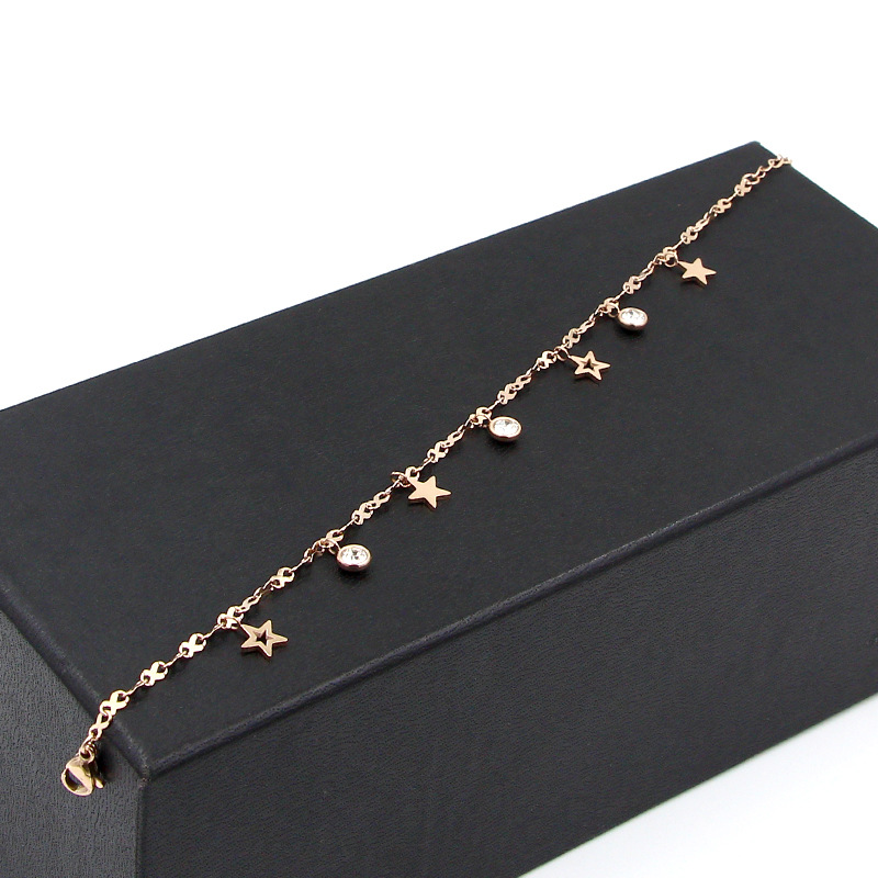 Hot Cute 8 Shape Chain Four Stars Three Crystal Woman Anklets High Quality Titanium Steel Rose Gold Color Woman Like Anklet Gift 3