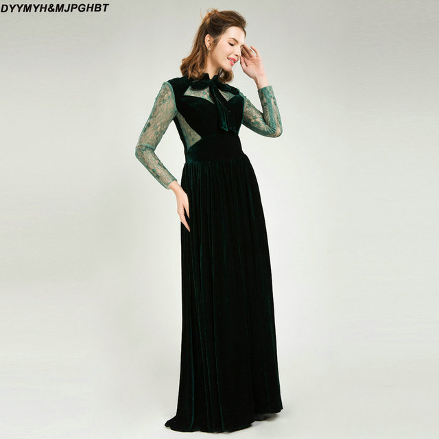Dark Green Velvet Evening Dresses High Collar With Bow Cut Out Sides