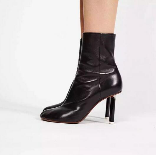 Big Size 10 Hottest Unicorn-heel Sock Ankle Boots High Quality Brand Black Leather Thigh High Stretch Boot Free Ship