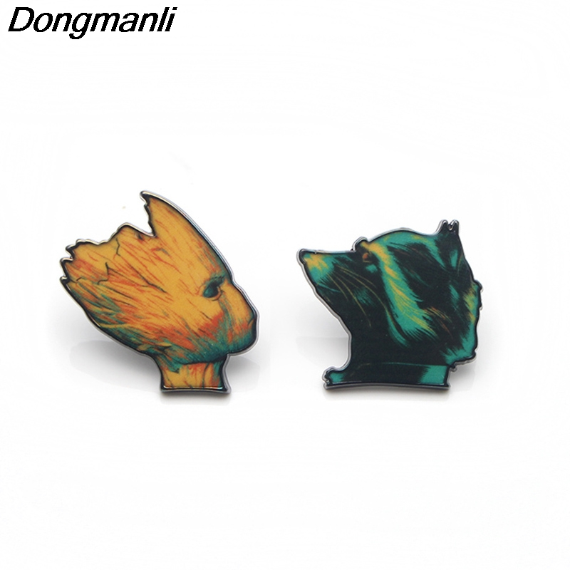 P3247 Wholesale 20pcs lot Cute Metal Print Pin Brooches Cartoon Creative Metal Brooch Pins Denim Hat