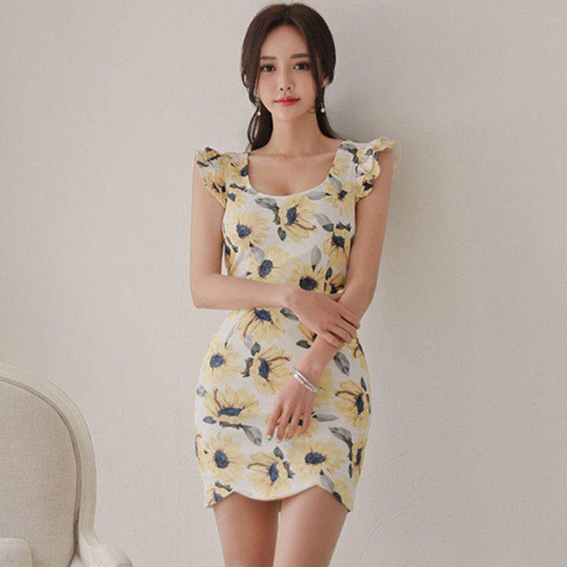 87c98c585ede Detail Feedback Questions about SZMXSS 2018 summer women's dress Korean  version new style print lotus leaf sleeve small fresh Package hip sexy  party dresses ...