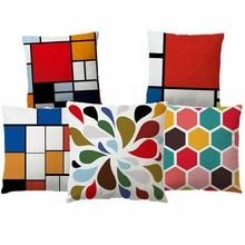 Geometric Cushion Cover Colorful Polyester Throw Pillow Case Striped Dotted Grid Cotton Linen Geometric Art Cushion Cover цена в Москве и Питере