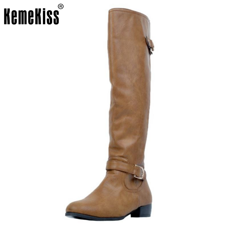 Women Round Toe Knee Boots Woman Brand Quality Square Heel Knight Boot Fashion Ladies Zipper Bootined Mujer Size 34-47 vinlle women boot square low heel pu leather rivets zipper solid ankle boots western style round lady motorcycle boot size 34 43