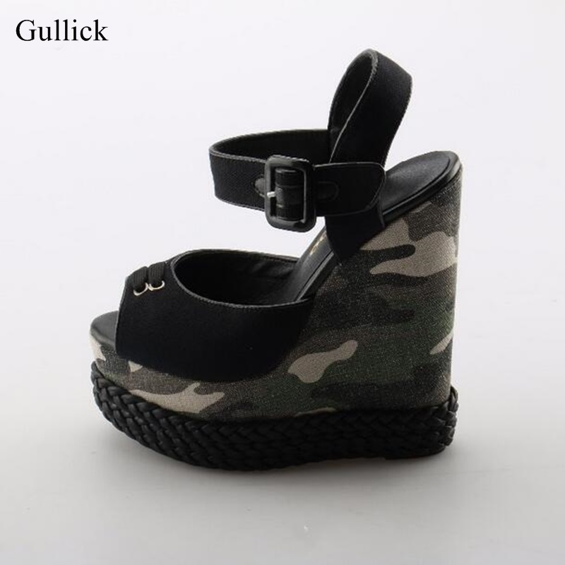 Sexy Peep toe Platform Wedge Sandal for Woman 2018 Camouflage Printed Ankle Strap High Platform Sandal Super High Summer Shoes boegli boegli m 34