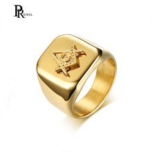 Men's Freemason Signet Rings Gold Color Stainless Steel Masonic Jewelry anel masculino(China)