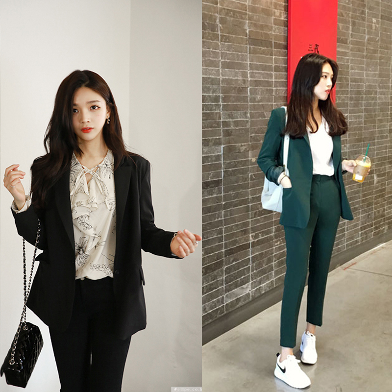 Set Women's Spring And Autumn New Fashion Casual Suit Nine Pants Two Sets Of Women's Lapel One Button Was Thin Business Wear
