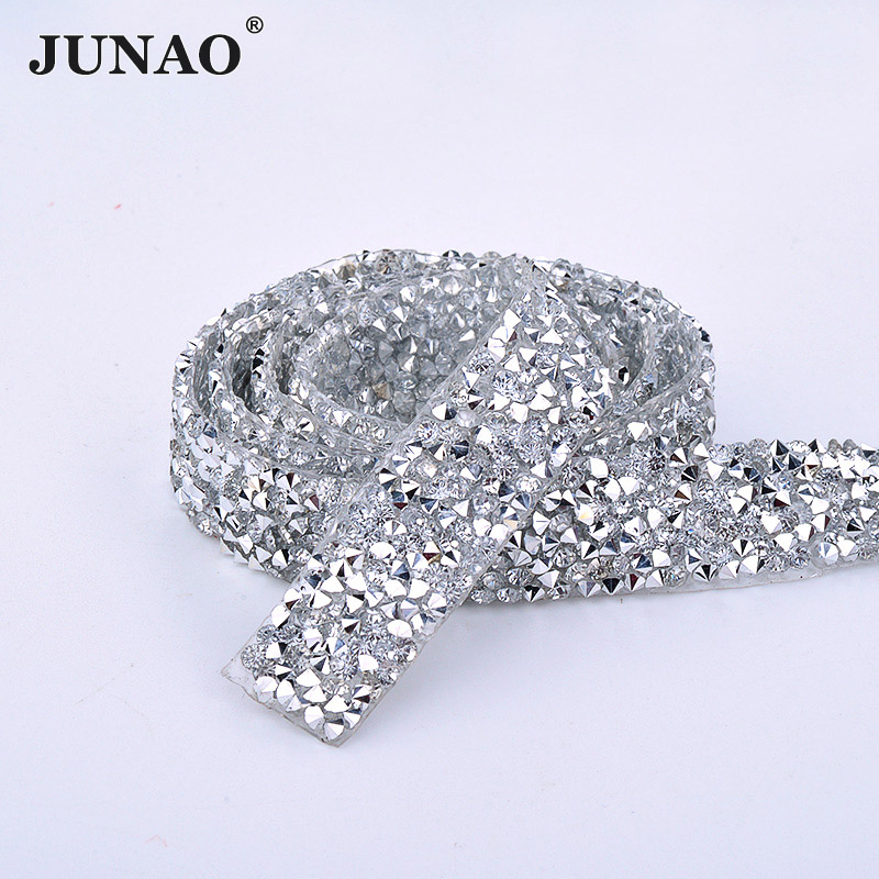JUNAO 5 Yard*15mm Sewing Clear Rhinestones Fabric Trim Hotfix Crystal Stones Ribbon Resin Strass Applique Band For DIY Clothes