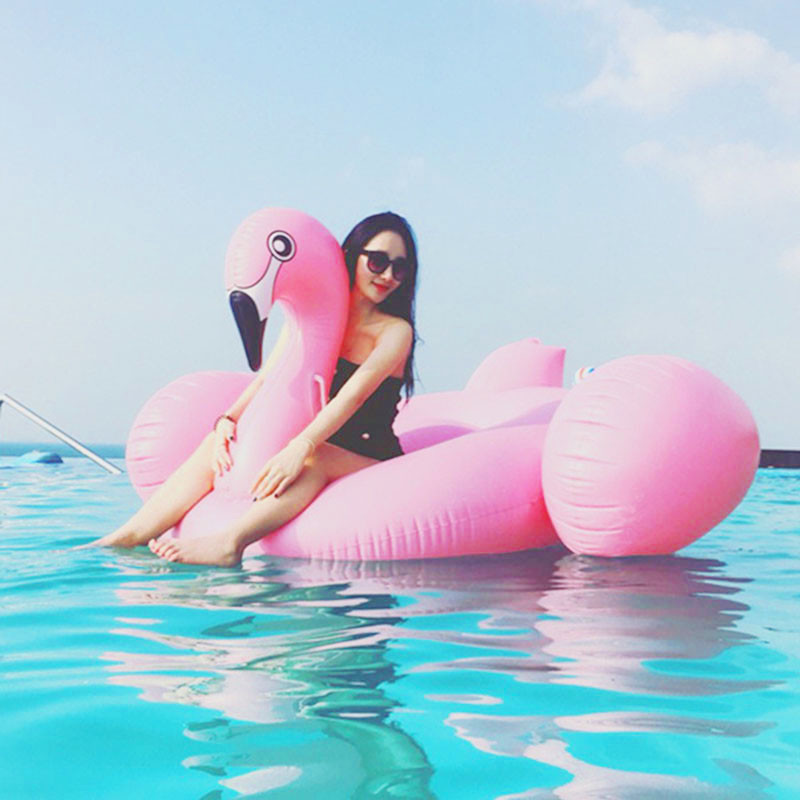 180cm Thicken PVC inflatable flamingo Ride-On floating ring swimming pool for adults children giant swan float toy chair (3)