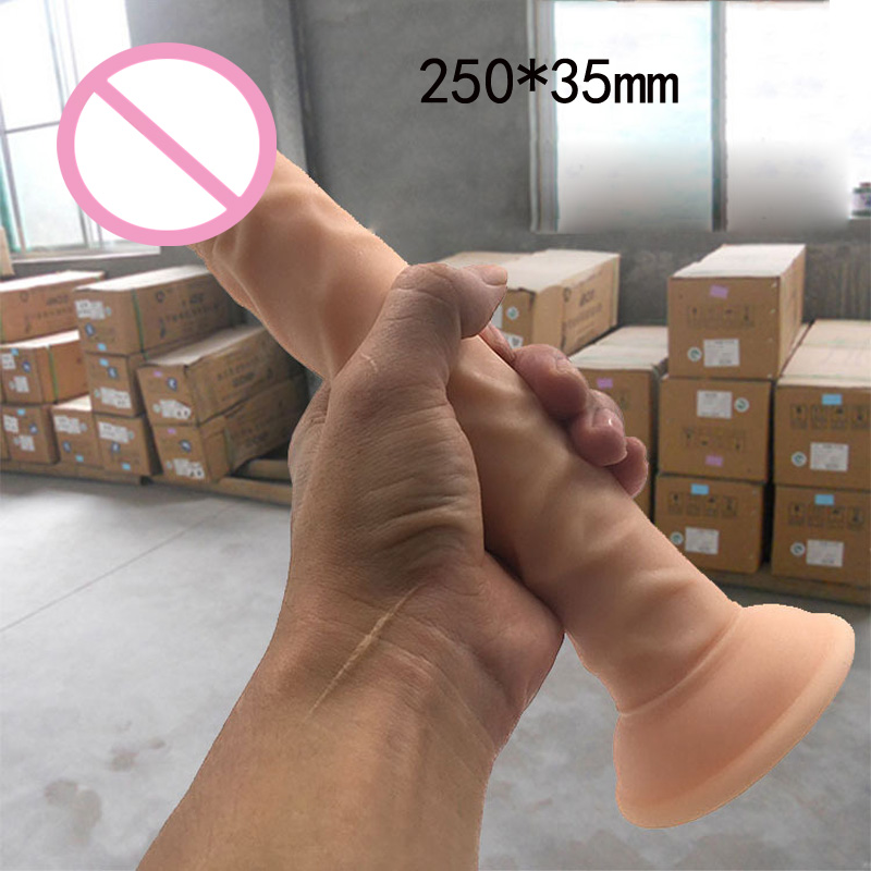 250*35mm super long huge dildo realistic suction cup dildo flesh color big penis sex toys for women Erotic Toys
