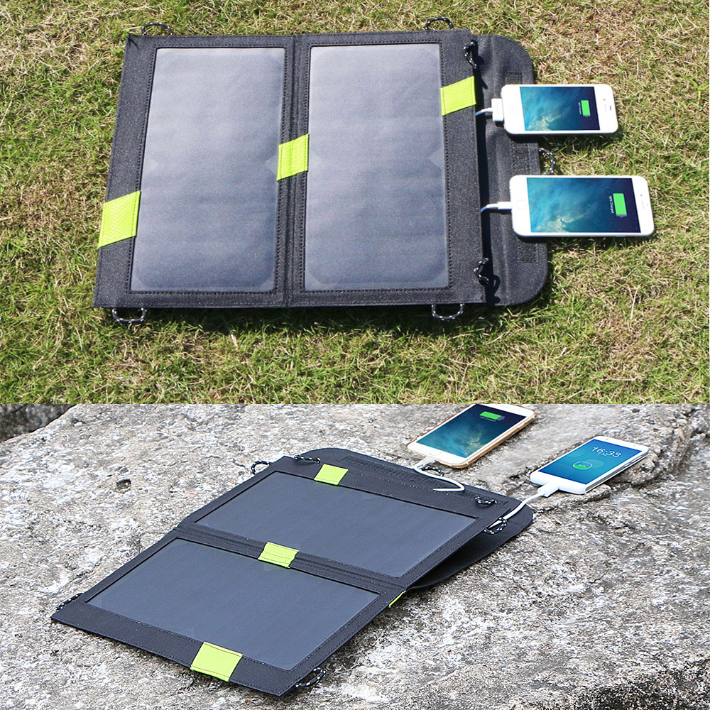 14W Solar Phone Charger Dual USB 5V 3.5A(Max.) Quick Chraging for iPhone 6 6s SE 7 7plus Samsung Galaxy iPad series etc.