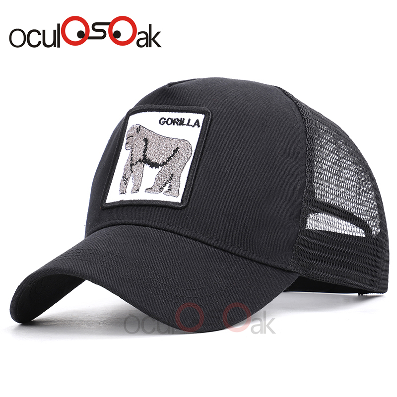 Fashion Animals Embroidery   Baseball     Caps   Men Women Gorilla Pattern Snapback Hip Hop Hat Summer Breathable Mesh Streetwear Bone