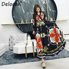 Delocah Women Spring Summer Dress Runway Fashion Designer Long Sleeve Sexy V-Neck Vintage Printed Elegant Slim Lady