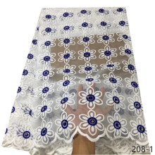 Hot Sale African French Lace Fabric High Quality Embroidered White Tulle Nigeria Net Milk Silk Party Dress 208