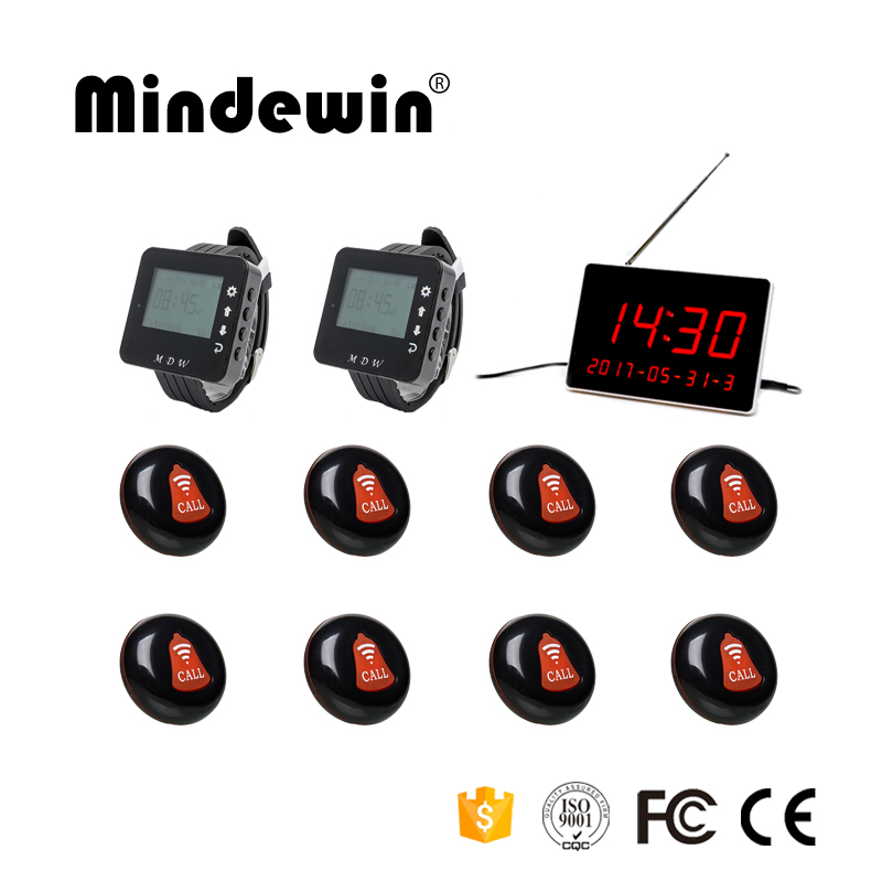 Mindewin New Design 433MHZ 1 Voice Reporting Receiver Host+2 Watch Receiver+ 8 Call Button for Wireless Hotel Queuing System