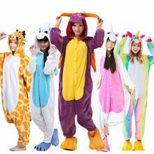 cbb8ec762424 AIMINYZ Оптовая Продажа Осень Зима Единорог стежка панда животных кигуруми  фланелевые пижамы наборы для ухода за