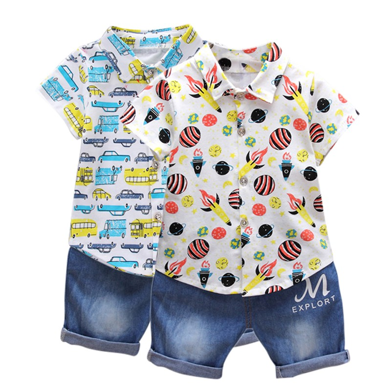 WEIXINBUY 2pcs Summer Infant Baby Boys Outfit Suit Print Top T-shirt + Denim Shorts Newborn Clothing Leisure Set