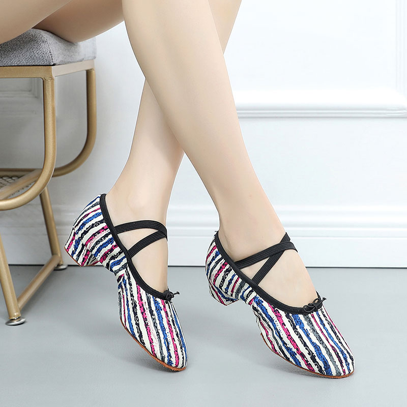 Women Ballet Jazz Dancing Shoes Colorful Stripe Female Teacher's Practice Fitness Dance Shoes Soft Sole Girls Performance Shoes(China)