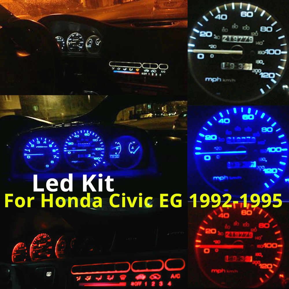 WLJH 16x White Blue Red Green Pink Yellow Instrument Gauge Cluster + Climate Control LED Light Kit For Honda Civic EG 1992-1995