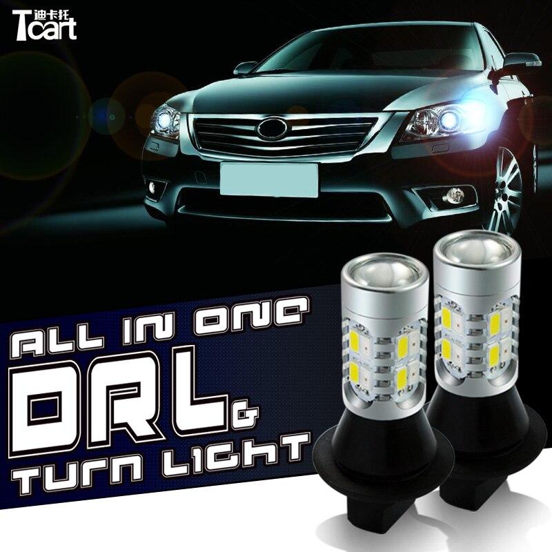 Tcart voiture ampoule LED COB DRL feux de jour clignotants avant WY21W 7440 lampes pour Toyota Cruiser Prado 150