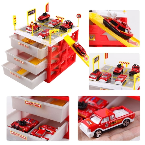 Kids Car Track Toys Mini Parking Lot 6PCS Cars Storage Matchbox DIY Road Signs Slot Car Model Toys Carport Garage Toy For Kids Karachi