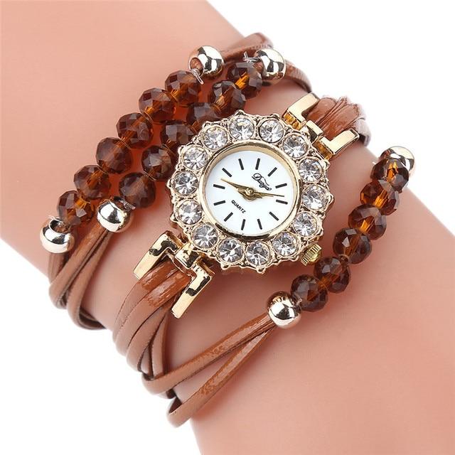 Vintage Retro Rivet Braided Long Leather Bracelet Watch Women Casual Quartz Watc