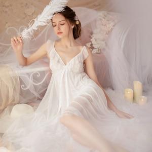 Image 5 - Fadas Retro Palácio Do Vento Doce Princesa Roupa de Dormir Primavera e No Verão Nightgowns Sleepshirts Nightdress Lace gola V Housewear