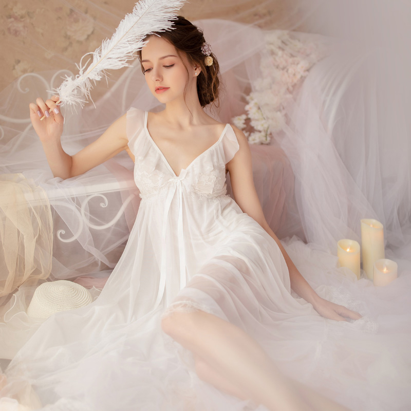 Image 5 - Fairy Retro Palace Wind Sweet Princess Nightwear Spring and Summer Nightdress Lace V collar Housewear Nightgowns SleepshirtsNightgowns & Sleepshirts   -