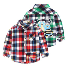 plaid shirt fall 2016 new children's clothing baby cartoon lapel coat the spring and autumn period and the boys long sleeve