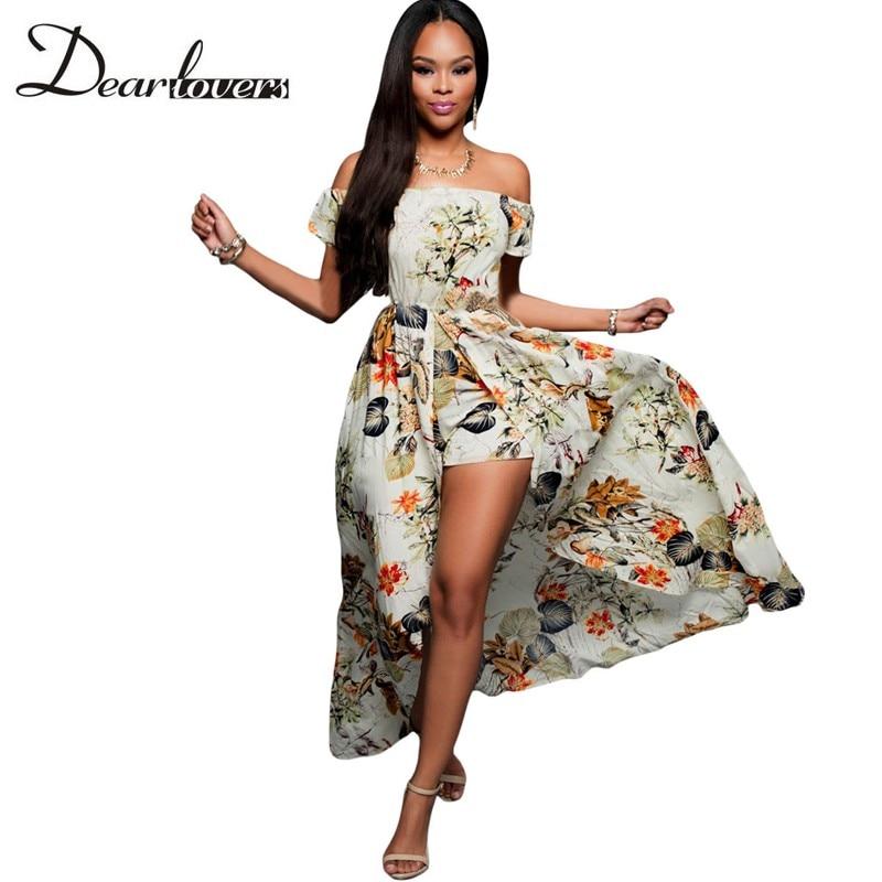 Dear lovers Summer Women Off Shoulder Maxi Dress 2017 Beige Multi-color  Floral Slit Romper Beach Long Dress Robe Longue LC64076 e72f56f77
