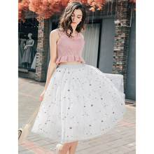 2019 New Puff Women Mesh Embroidery Tulle Skirts Vintage Floral Mesh High Waist Black White Tutu Skirt Womens(China)