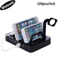 20pcs Lot 50W 6 Ports USB Charging Station Dock Stand Holder 1A 2 4A USB Quick