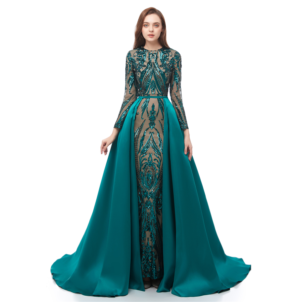 Long Sleeves Green Sequins   Prom     Dresses   2019 Mermaid Detachable Train Evening Party Gowns Custom Made Plus Size Sexy   Prom   Gown