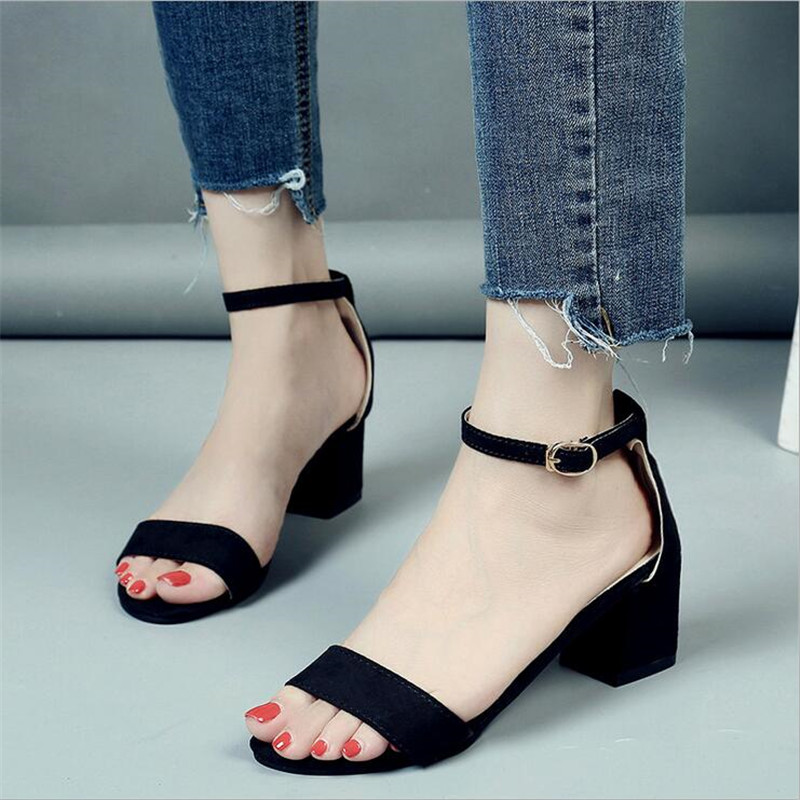 2018 Summer Women Sandals Open Toe Flip Flops Womens Sandles Thick Heel Women Shoes Korean Style Gladiator Shoes XA5523